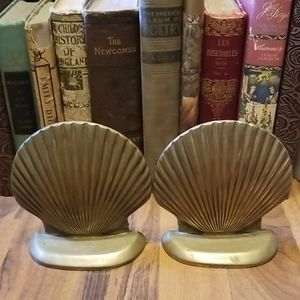 Vintage Brass Scallop Shell Bookends Mid Century